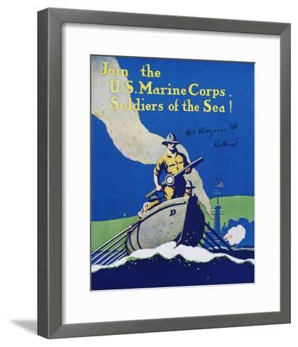 Join the U.S. Marine Corps. Recruiting Poster--Framed Art Print