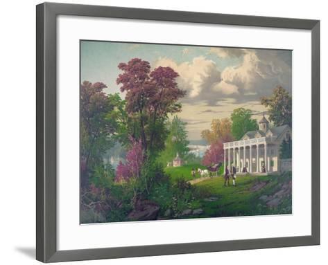George Washington Arriving at Mount Vernon--Framed Art Print