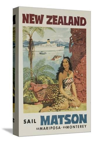 Matson Lines Travel Poster, New Zealand--Stretched Canvas Print
