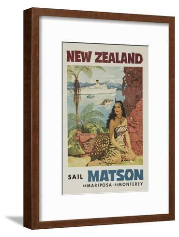 Matson Lines Travel Poster, New Zealand--Framed Art Print