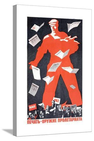 Giant Soviet Workder Distributing Communist Newspapers--Stretched Canvas Print