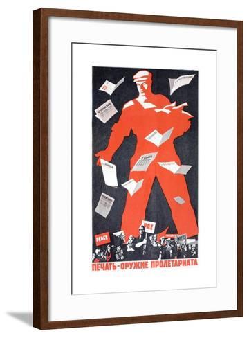 Giant Soviet Workder Distributing Communist Newspapers--Framed Art Print