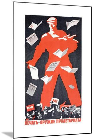 Giant Soviet Workder Distributing Communist Newspapers--Mounted Giclee Print