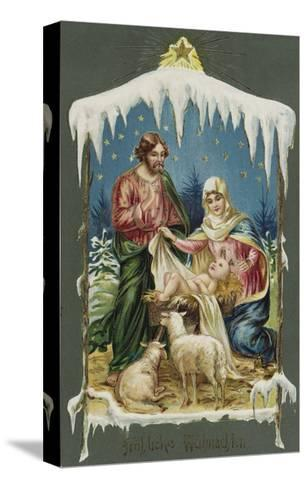 Merry Christmas Postcard with Nativity Scene--Stretched Canvas Print