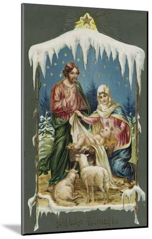Merry Christmas Postcard with Nativity Scene--Mounted Giclee Print