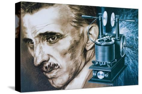 Nikola Tesla with an Early Tesla Coil--Stretched Canvas Print
