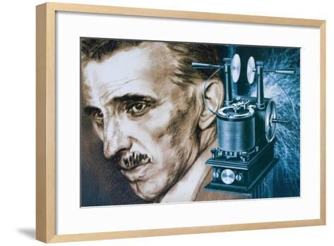 Nikola Tesla with an Early Tesla Coil--Framed Art Print