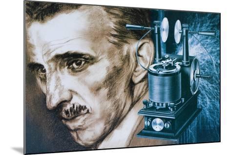 Nikola Tesla with an Early Tesla Coil--Mounted Giclee Print