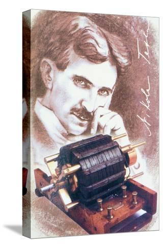 Nikola Tesla with Machine--Stretched Canvas Print