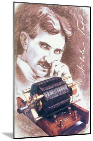 Nikola Tesla with Machine--Mounted Giclee Print