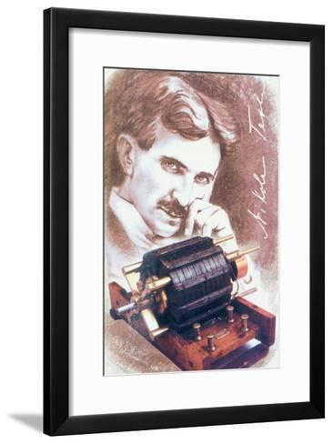 Nikola Tesla with Machine--Framed Art Print