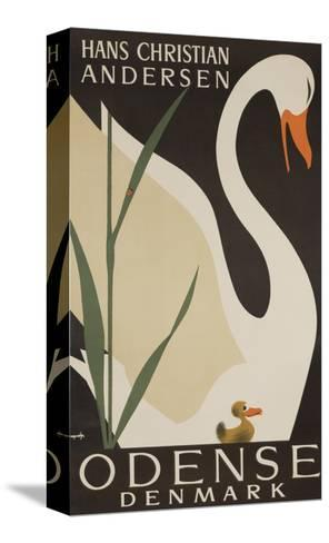Odense Denmark Travel Poster, Hans Christian Andersen Ugly Duckling--Stretched Canvas Print