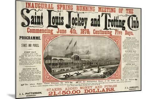 Saint Louis Jockey and Trotting Club Race Announcement--Mounted Giclee Print