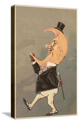 Postcard of the Cresent Moon as the Face of a Man--Stretched Canvas Print