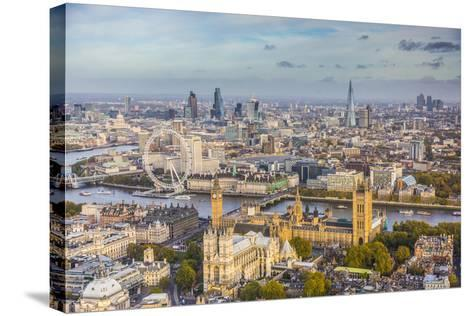 Aerial View from Helicopter, Houses of Parliament, River Thames, London, England-Jon Arnold-Stretched Canvas Print