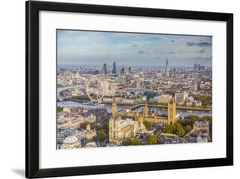 Aerial View from Helicopter, Houses of Parliament, River Thames, London, England-Jon Arnold-Framed Art Print