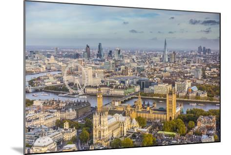 Aerial View from Helicopter, Houses of Parliament, River Thames, London, England-Jon Arnold-Mounted Photographic Print