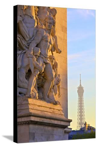 Arc De Triomphe with Eiffel Tower in the Background, Paris, France.-Neil Farrin-Stretched Canvas Print