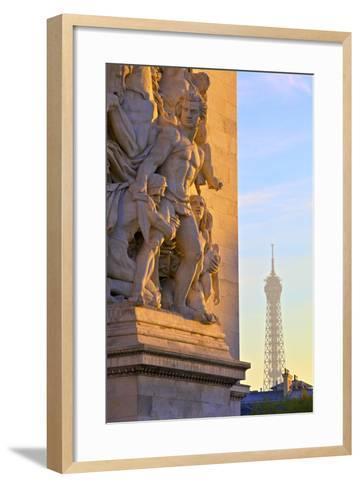 Arc De Triomphe with Eiffel Tower in the Background, Paris, France.-Neil Farrin-Framed Art Print
