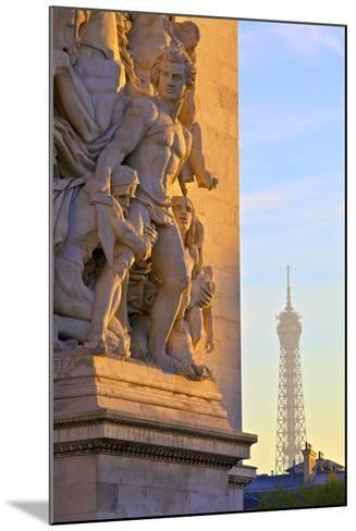 Arc De Triomphe with Eiffel Tower in the Background, Paris, France.-Neil Farrin-Mounted Photographic Print