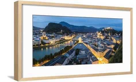 The Hohensalzburg Fortress, Church and Cathedral, at Dusk, Salzburg, Austria-Peter Adams-Framed Art Print