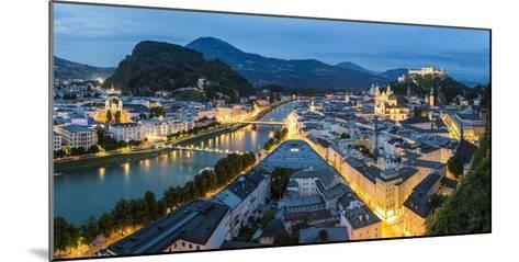 The Hohensalzburg Fortress, Church and Cathedral, at Dusk, Salzburg, Austria-Peter Adams-Mounted Photographic Print