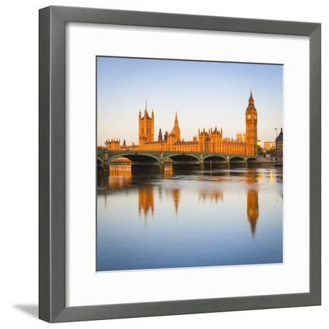 The Houses of Parliament and the River Thames Illuminated at Sunrise.-Doug Pearson-Framed Art Print