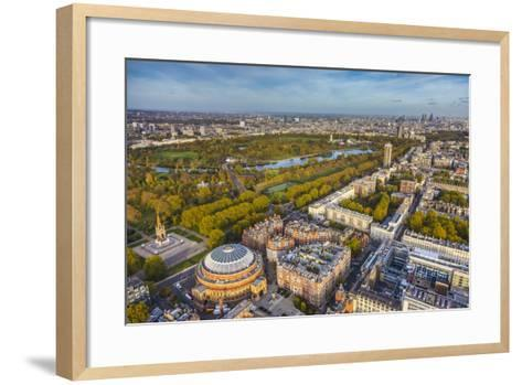 Aerial View from Helicopter,Royal Albert Hall and Hyde Park, London, England-Jon Arnold-Framed Art Print