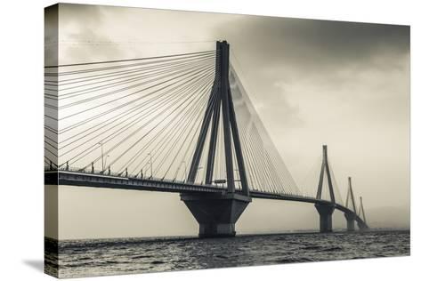 Greece, Peloponese Region, Gulf of Corinth, Patraa-Area, Rio Antirio Bridge-Walter Bibikow-Stretched Canvas Print