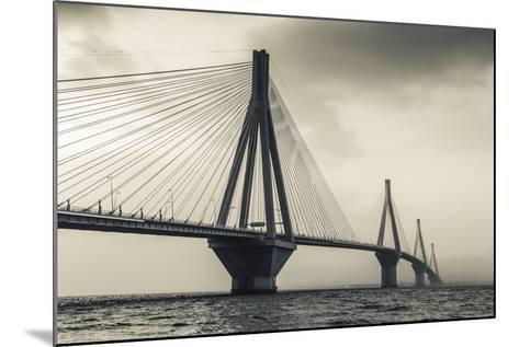 Greece, Peloponese Region, Gulf of Corinth, Patraa-Area, Rio Antirio Bridge-Walter Bibikow-Mounted Photographic Print