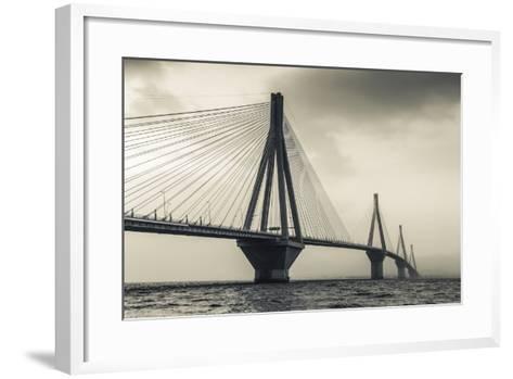 Greece, Peloponese Region, Gulf of Corinth, Patraa-Area, Rio Antirio Bridge-Walter Bibikow-Framed Art Print