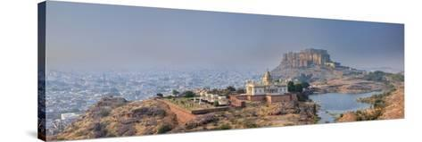 India, Rajasthan, Jodhpur, Jaswant Thada Temple and Mehrangarh Fort-Michele Falzone-Stretched Canvas Print