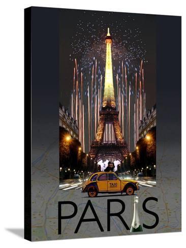 Paris Kiss-Big Island Studios-Stretched Canvas Print