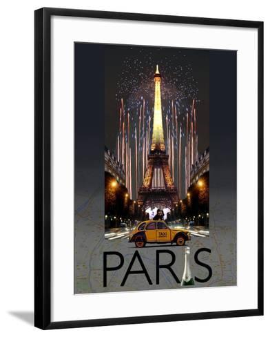 Paris Kiss-Big Island Studios-Framed Art Print