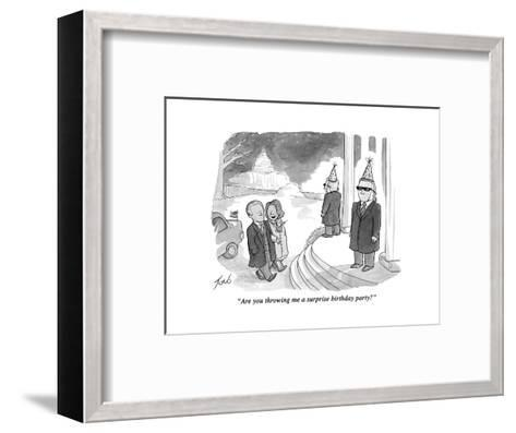 """""""Are you throwing me a surprise birthday party?"""" - Cartoon-Tom Toro-Framed Art Print"""