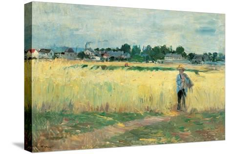 In the Wheat Fields at Gennervilliers-Berthe Morisot-Stretched Canvas Print