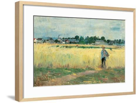In the Wheat Fields at Gennervilliers-Berthe Morisot-Framed Art Print