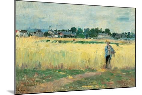 In the Wheat Fields at Gennervilliers-Berthe Morisot-Mounted Giclee Print