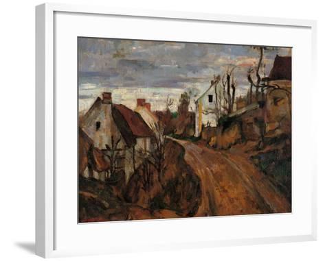 Village Street in Auvers-Paul C?zanne-Framed Art Print