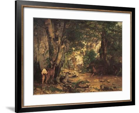 A Thicket of Roe Deer at the Stream of Plaisir Fontaine-Gustave Courbet-Framed Art Print