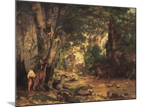 A Thicket of Roe Deer at the Stream of Plaisir Fontaine-Gustave Courbet-Mounted Giclee Print
