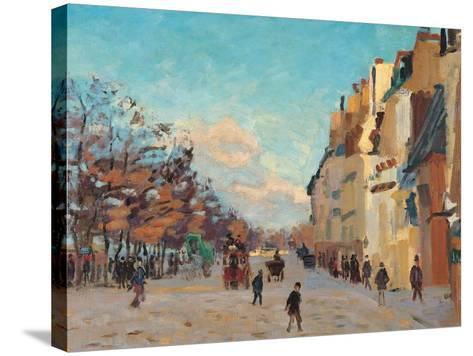 Sidewalk, Snow Effect, Paris-Jean-Baptiste-Armand Guillaumin-Stretched Canvas Print