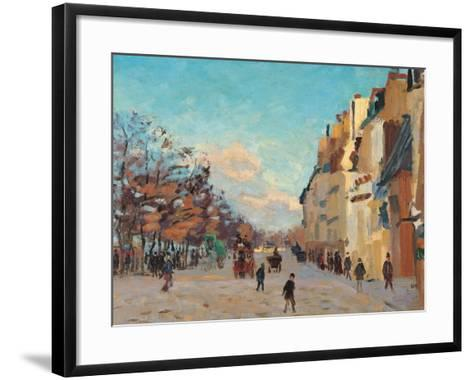 Sidewalk, Snow Effect, Paris-Jean-Baptiste-Armand Guillaumin-Framed Art Print
