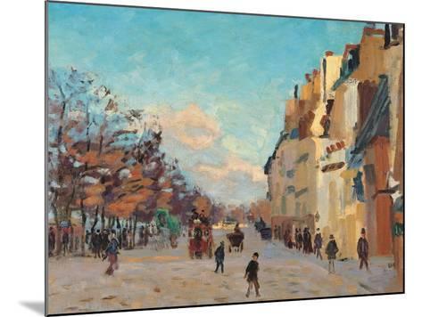 Sidewalk, Snow Effect, Paris-Jean-Baptiste-Armand Guillaumin-Mounted Giclee Print