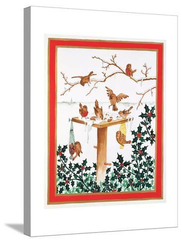 Robins and Sparrows at the Bird Table-Jeanne Maze-Stretched Canvas Print