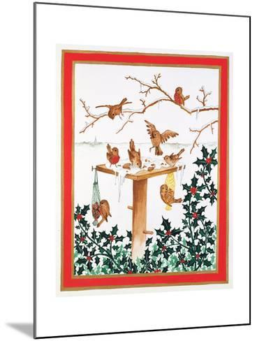 Robins and Sparrows at the Bird Table-Jeanne Maze-Mounted Giclee Print