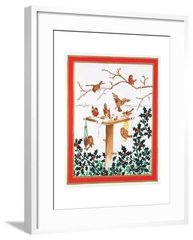 Robins and Sparrows at the Bird Table-Jeanne Maze-Framed Art Print