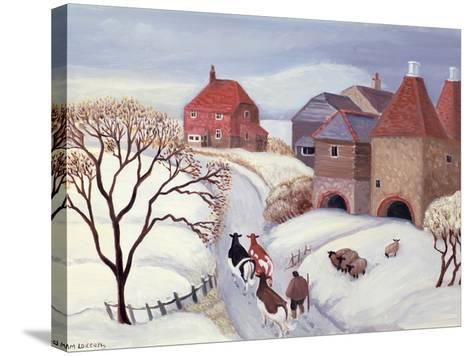 Driving Cows Home in the Snow-Margaret Loxton-Stretched Canvas Print
