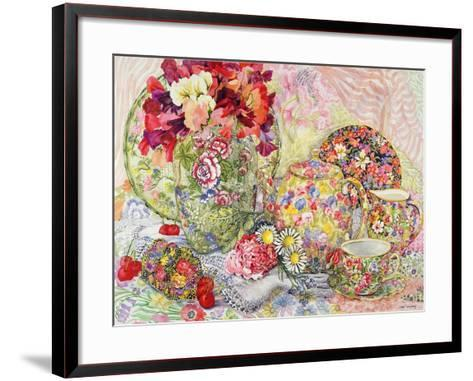 Sweet Peas with Flowered Antique China and Cherries-Joan Thewsey-Framed Art Print