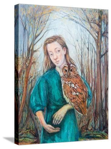Girl with Owl, 2012-Silvia Pastore-Stretched Canvas Print